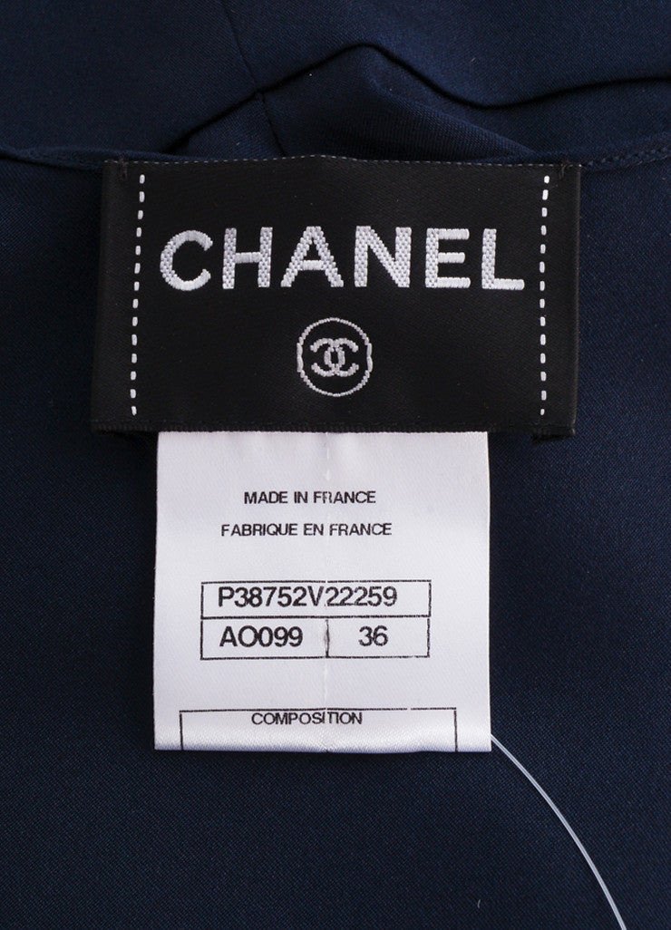 Chanel Navy Blue Silk Satin Peplum Sleeveless Blouse Brand