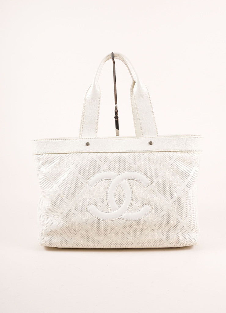 "Chanel  Off-White Perforated Leather ""CC"" Patch Tote Bag Frontview"
