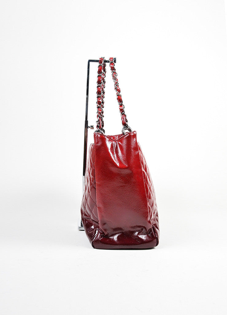 Red Ombre Chanel Glazed Caviar Leather Quilted Tote Bag Side