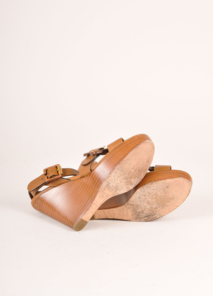 Chloe Brown Leather and Wood Buckle Ankle Strap Wedges Outsoles