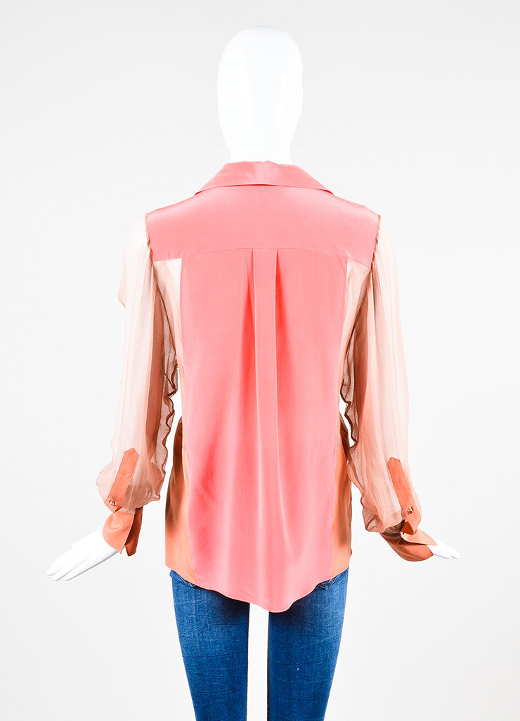 Chloe Pink Silk Chiffon Sheer Panel Button Up Long Sleeve Blouse Backview