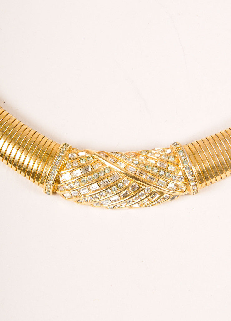 Christian Dior Gold Tone Embellished Flat Snake Chain Choker Necklace Detail