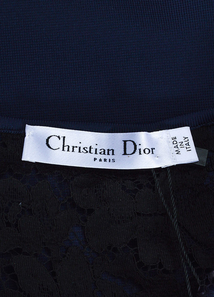 Navy Blue and Black Christian Dior Knit Sheer Lace Short Sleeve Crop Top Brand