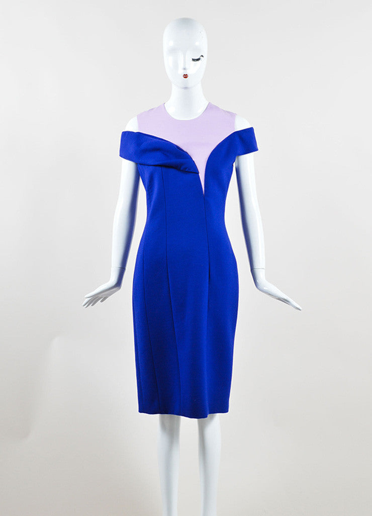 Christian Dior Blue and Pink Off Shoulder Crepe Wool Sheath Dress Frontview