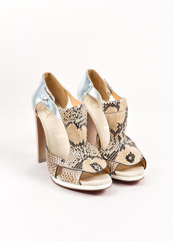 Christian Louboutin Beige, Brown, and Silver Snakeskin Leather Open Heels Frontview