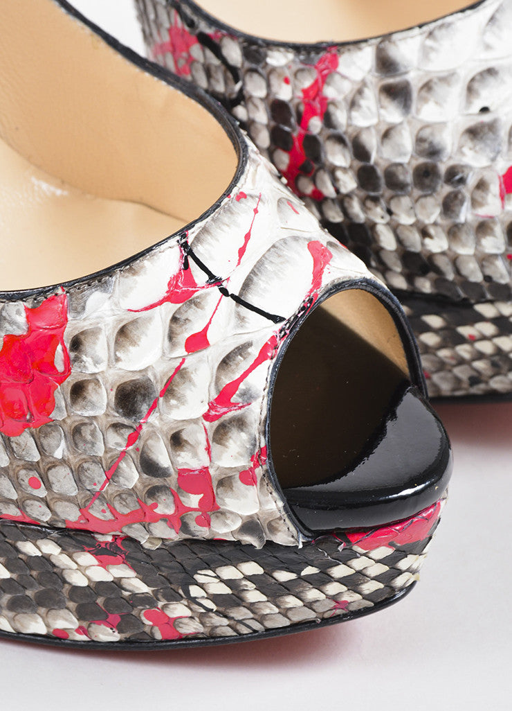 "Black, White, and Pink Python Christian Louboutin ""Lady Peep"" Pumps Detail"