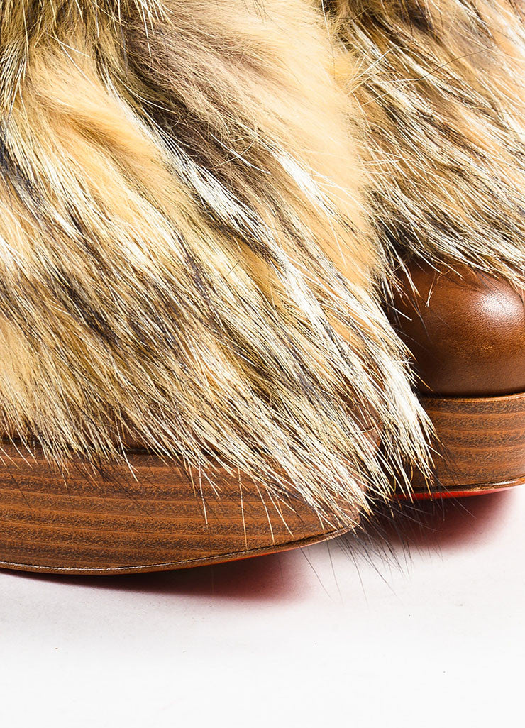 "Christian Louboutin Brown Leather Fur ""Toundra Booty 140"" Boots Detail"
