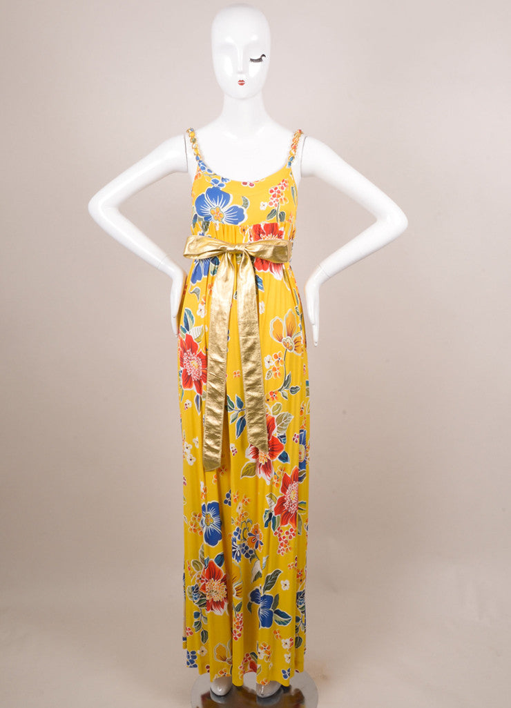 Dolce & Gabbana Yellow, Blue, and Red Floral Print Belted Maxi Dress Frontview