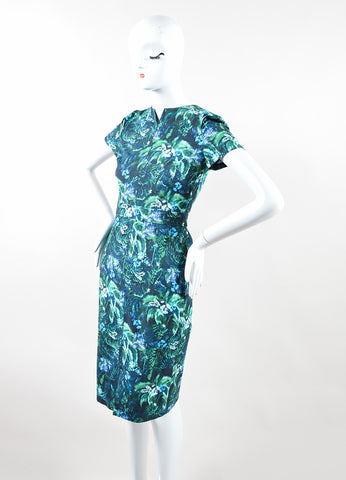 "Erdem Blue and Green ""Arue"" Floral Palm Print ""Raisa"" Sheath Dress Sideview"