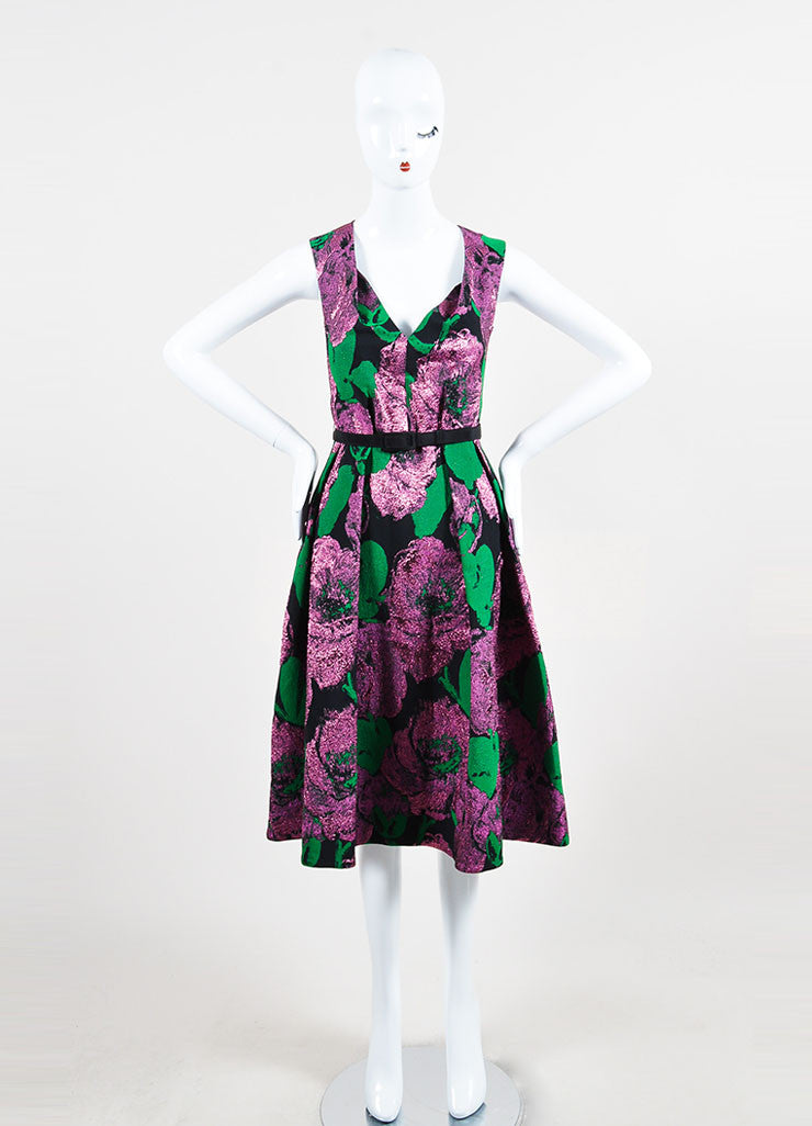 "Erdem Black, Green, and Purple Jacquard Sleeveless V-Neck ""Kuni"" Dress Frontview"