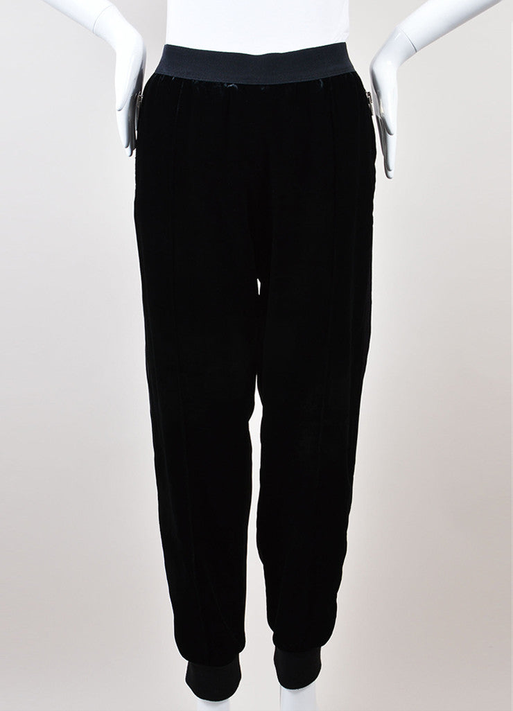 Giambattista Valli Black Ribbed Velvet Contrast Jogger Pants Frontview