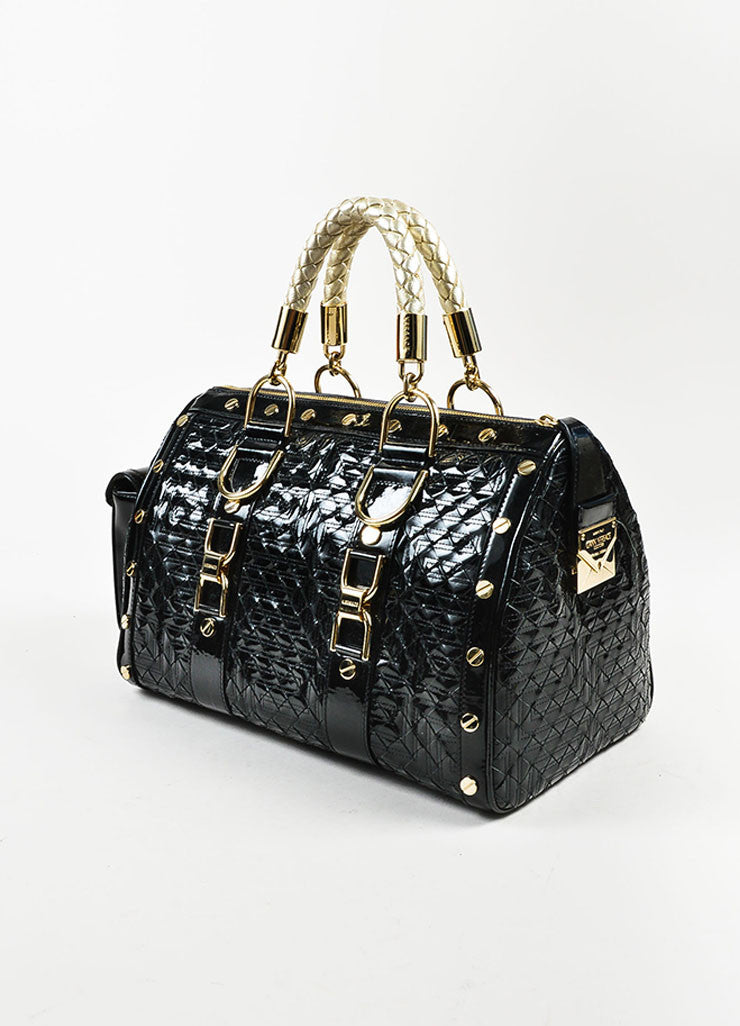 "Gianni Versace Black Patent Leather Quilted ""Snap Out of It"" Satchel  Bag Sideview"
