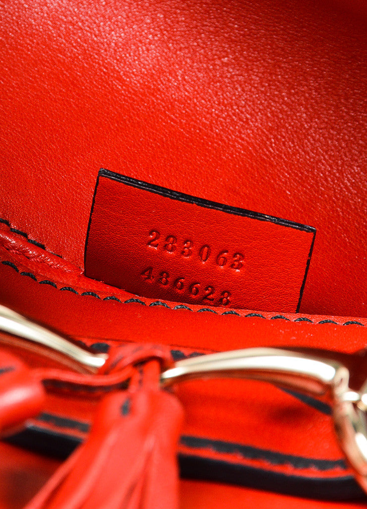 "Red Gucci Leather ""Emily"" Horsebit Tassel Chain Strap Shoulder Bag Serial"