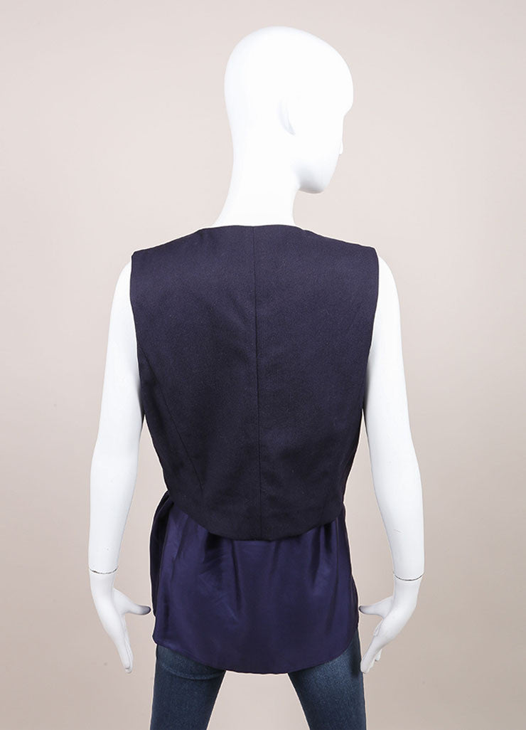 Haider Ackermann New With Tags Navy Combo Short Sleeve Waistcoat Vest Backview 2