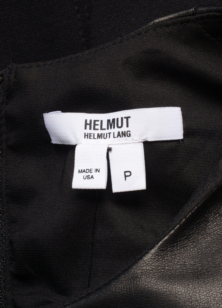 HELMUT Helmut Lang New With Tags Black Leather Knit Long Sleeve Dress Brand