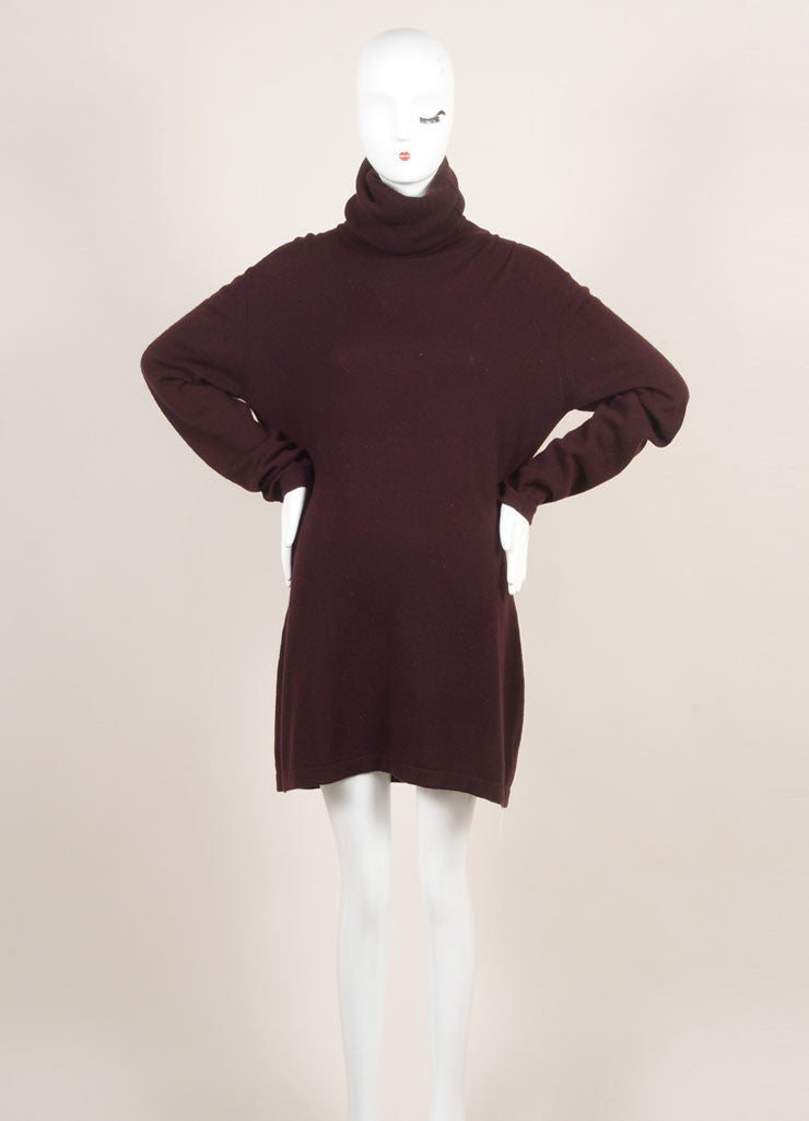 Hermes Maroon Cashmere Knit Turtleneck Tunic Sweater Dress Frontview