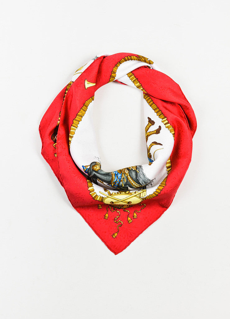 "Hermes Red, Gold, and Blue Silk ""Les Fetes Du Roi Soleil"" 90cm Scarf Frontview"