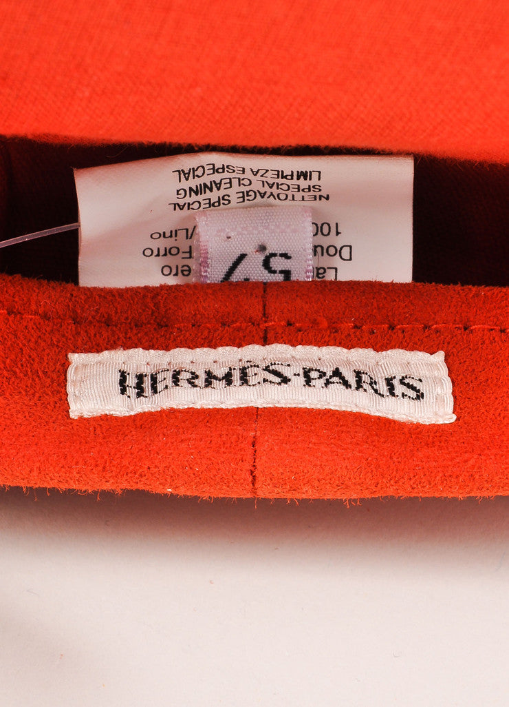 Hermes Red Suede Leather Beret Hat  Brand