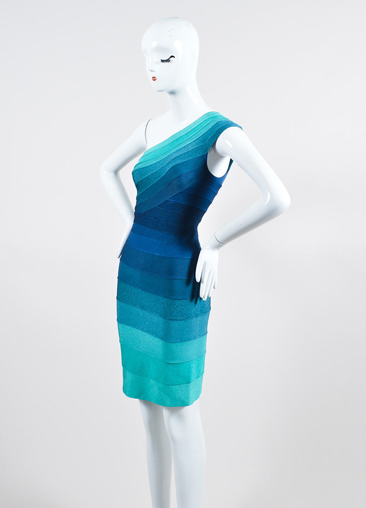 "Blue and Green Herve Leger One Shoulder Striped Bandage Bodycon ""Eliana"" Dress Sideview"