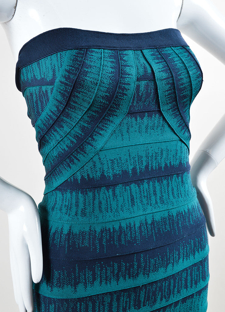 Herve Leger Teal and Navy Spandex Knit Strapless Bandage Dress Detail