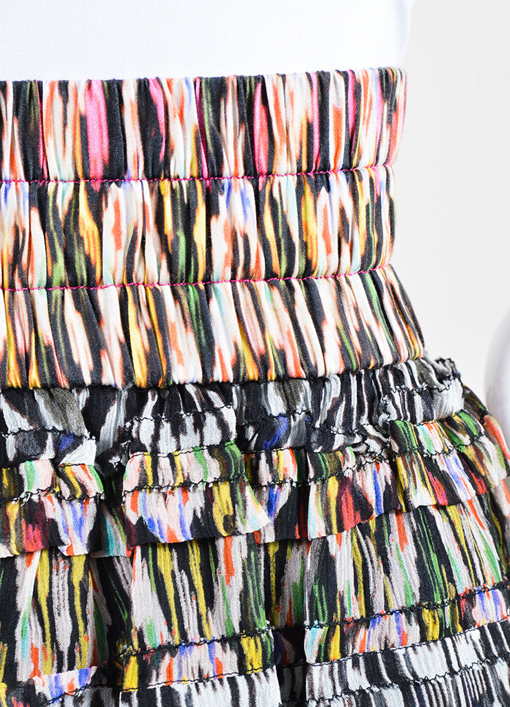 Multicolor Isabel Marant Silk Tiered Ruffled Printed Mini Skirt Detail