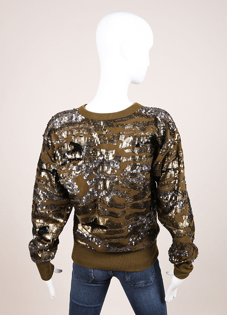 Isabel Marant New With Tags Olive Green Metallic Camouflage Sequin Sweatshirt Backview