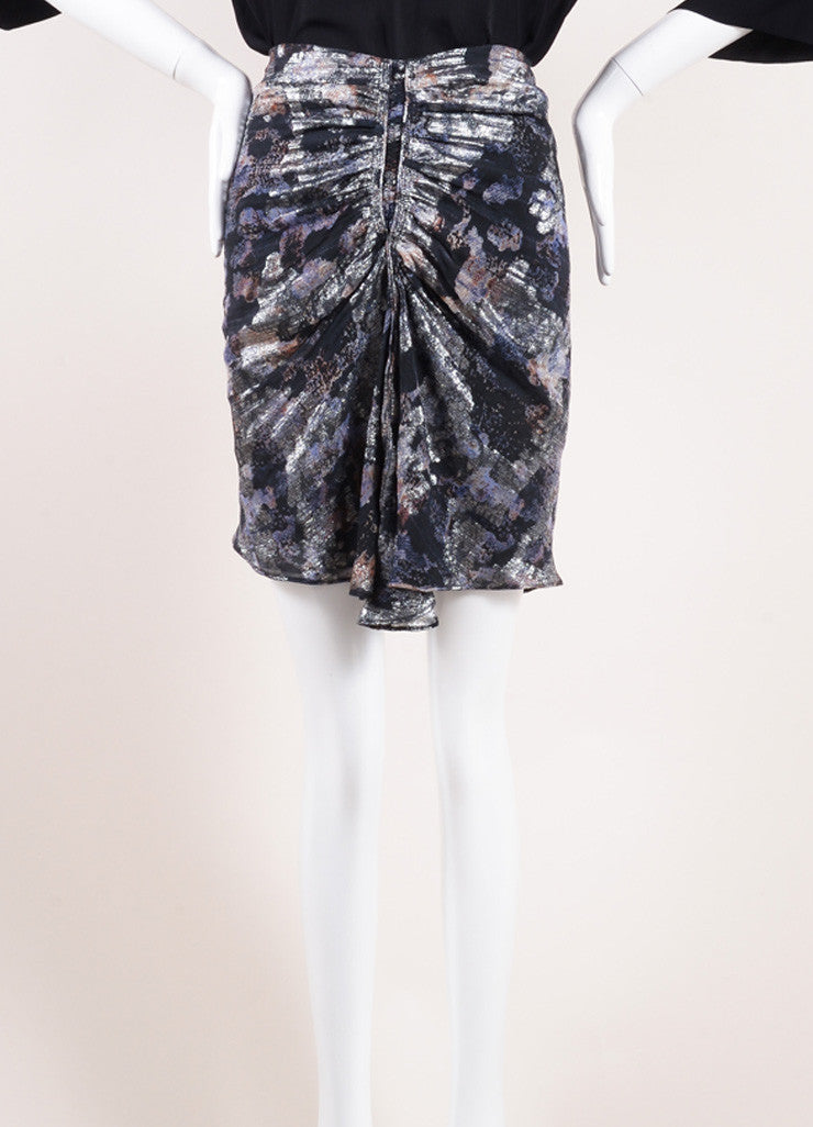 "Isabel Marnt Black and Silver Floral Print Ruched ""Georgette"" Skirt Frontview"