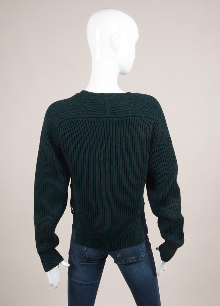 "Isabel Marant New With Tags Dark Green Chunky Wool Knit ""Nils Montaign"" Sweater Backview"
