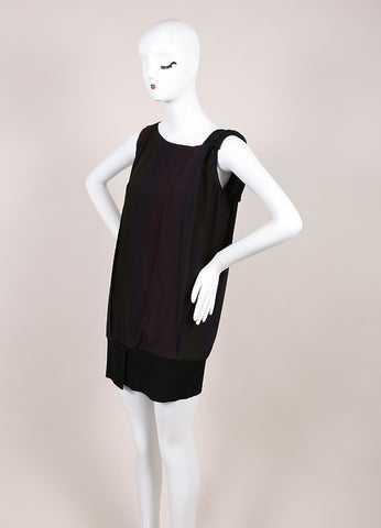 Jil Sander Purple Green Silk Elastic Sleeveless Tunic Top SZ 34 Sideview