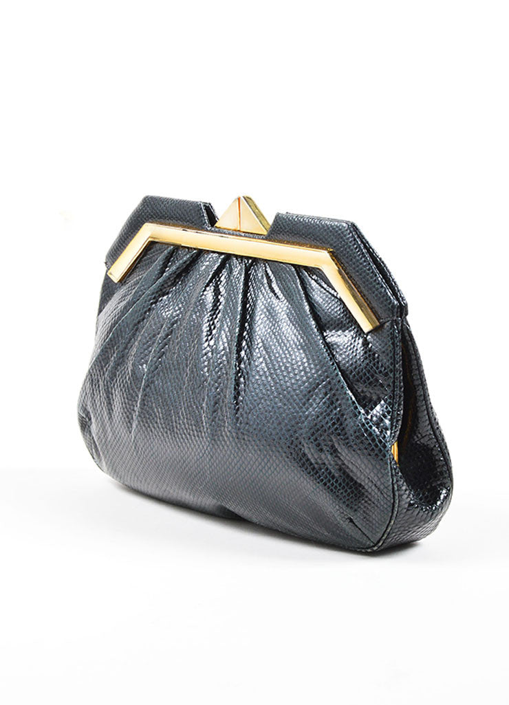 Judith Leiber Black Reptile Leather Mother Of Pearl Deco Evening Bag Sideview