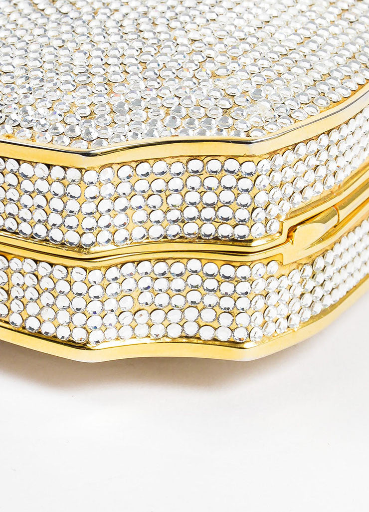 Judith Leiber Crystal Gold Toned Minaudiere Clutch Evening Bag Detail