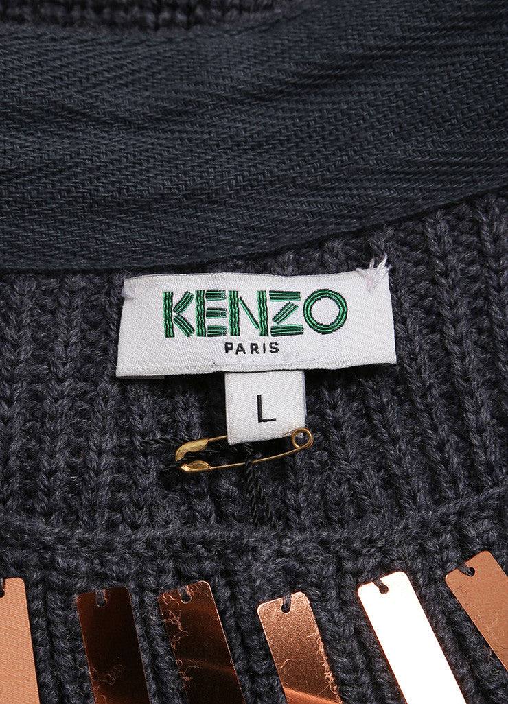 Kenzo New With Tags Grey, Metallic Bronze, and Silver Wool Sequin Embellished Skirt Brand