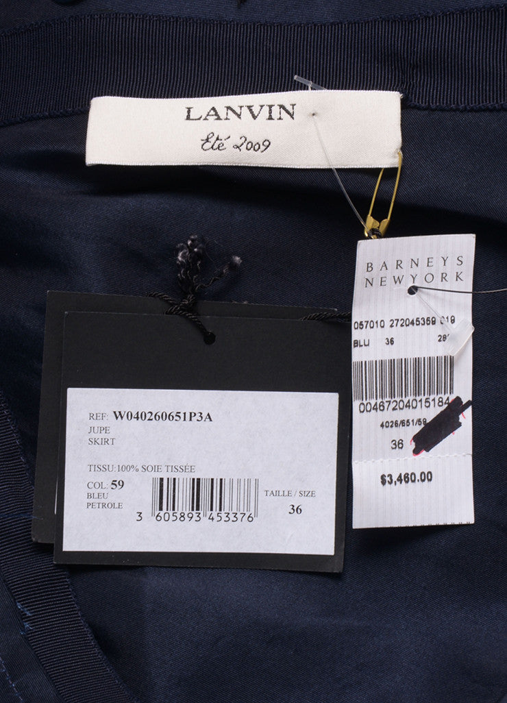 Lanvin Navy Blue Silk Paillette Embellished Ruched Skirt Brand