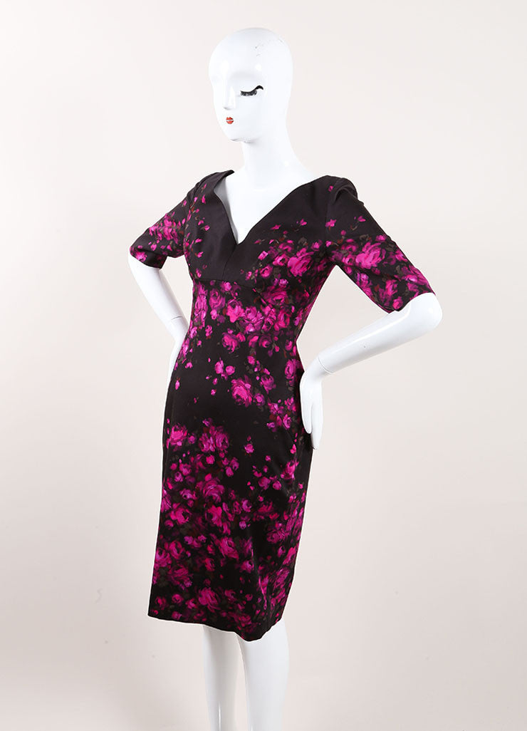 Lela Rose New With Tags Black and Pink Floral Print Crop Sleeve Sheath Dress Sideview