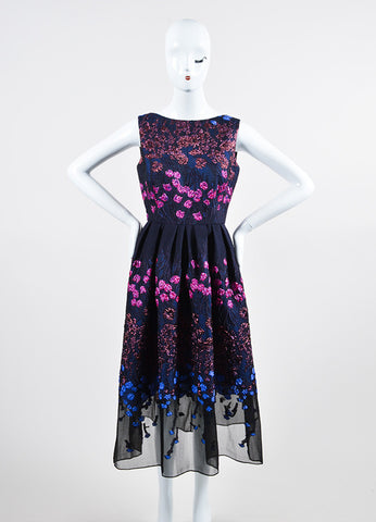 Navy, Pink, and Blue Lela Rose Wool and Silk Brocade Sleeveless Flared Midi Dress Frontview