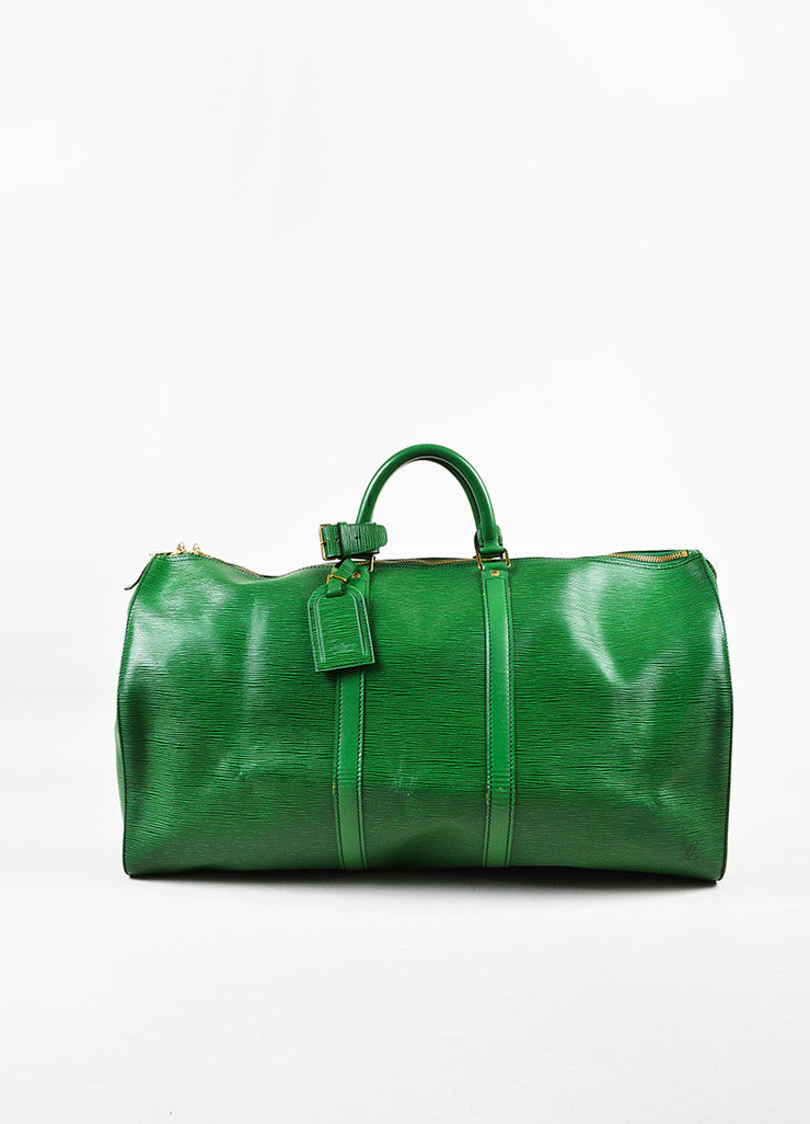 "Louis Vuitton Borneo Green Epi Leather ""Keepall 55"" Travel Duffel Bag Frontview"