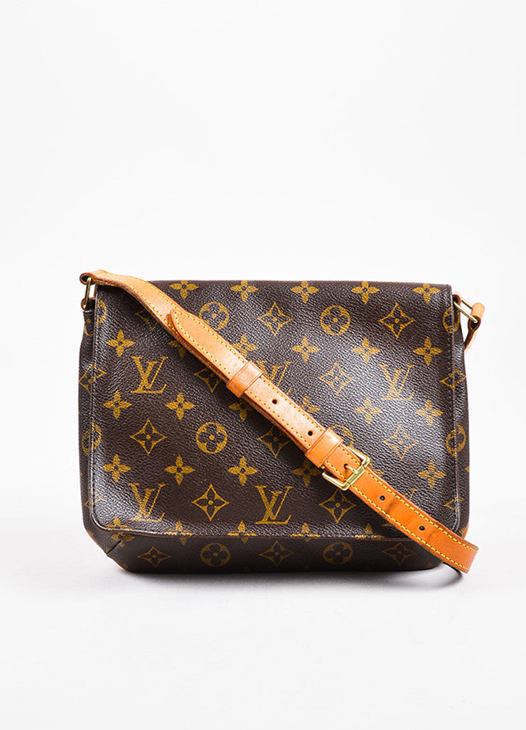 "Louis Vuitton Brown and Tan Coated Canvas Leather Monogram ""Musette Tango"" Bag Frontview"