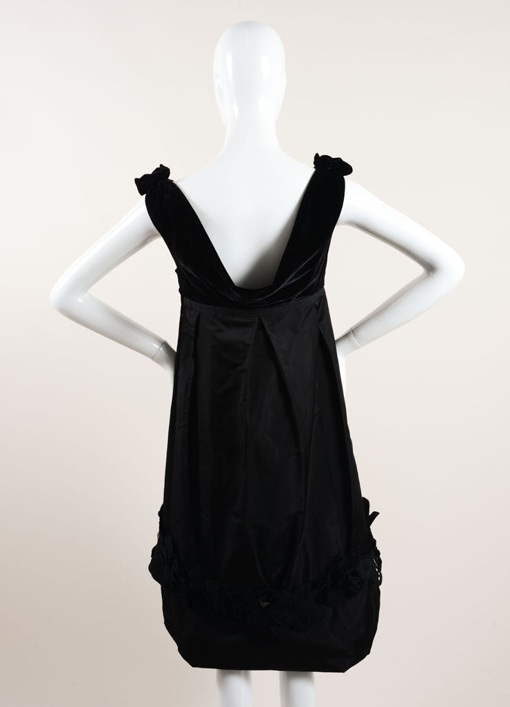 Louis Vuitton New With Tags Black Silk and Velvet Sleeveless Floral Applique Dress Backview