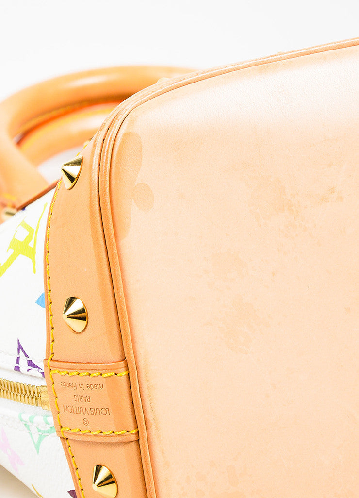 "Louis Vuitton White ""Multicolore Monogram Alma"" Canvas & Leather Trim Bag Detail"