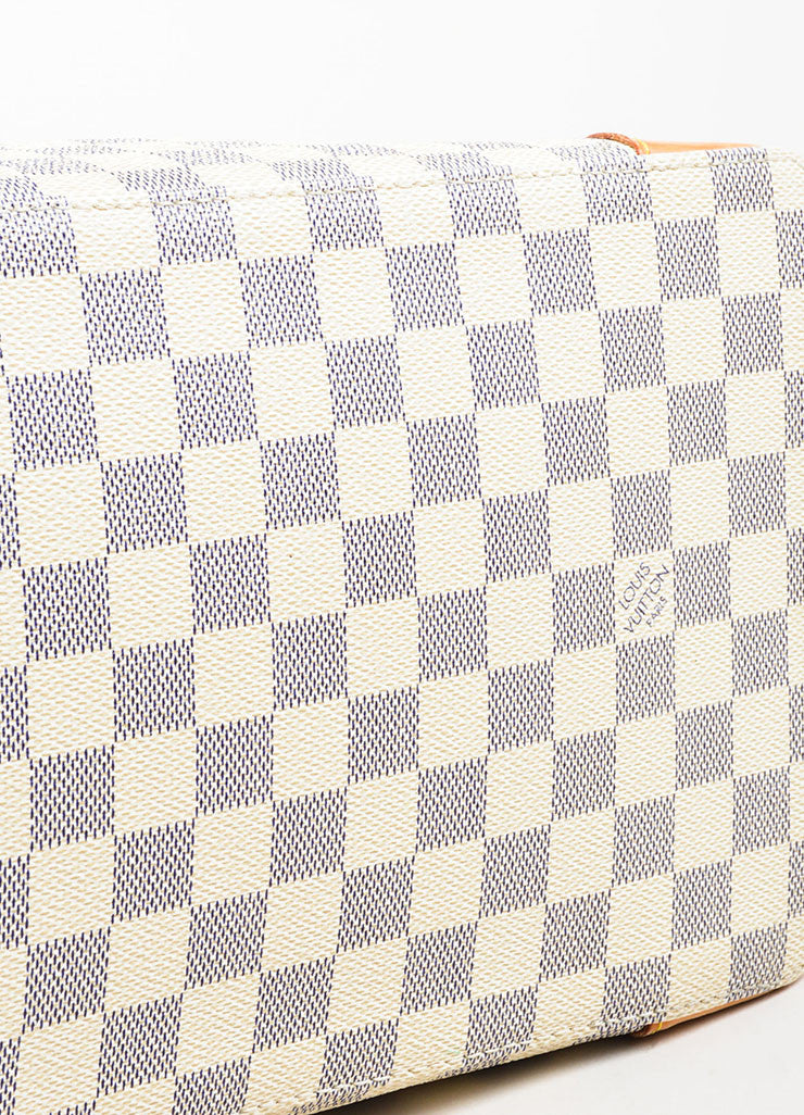 "Louis Vuitton White, Tan, and Blue Coated Canvas Damier Azur ""Hampstead PM"" Bag Bottom View"