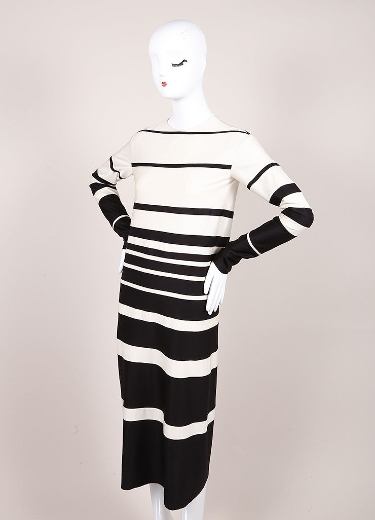 Marc Jacobs Cream and Black Silk Knit Stripe Long Sleeve Midi Dress Sideview