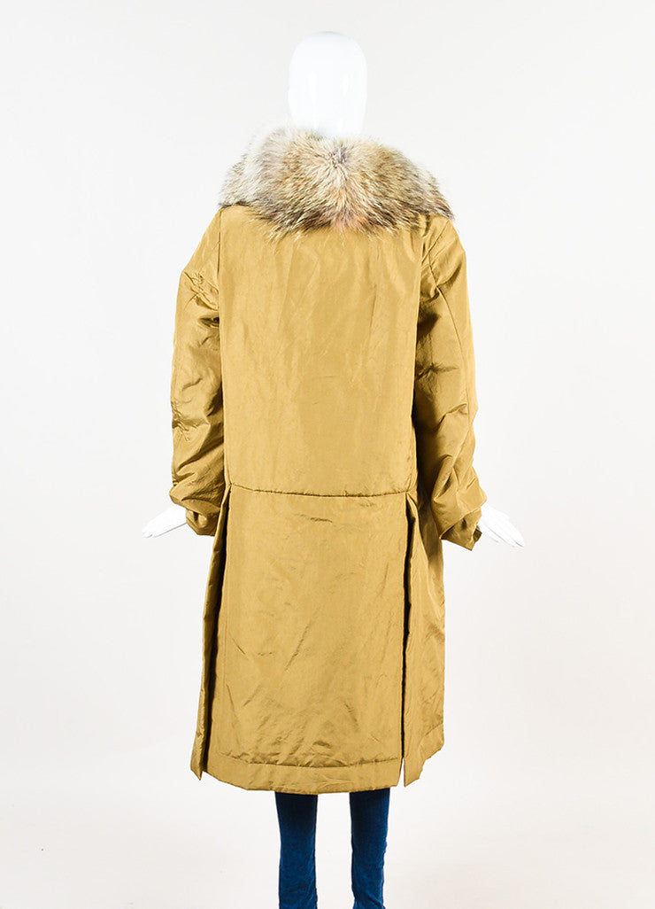 "Michael Kors ""Barley"" Tan Silk Coyote Fur Collar Trim Down Parka Coat Backview"