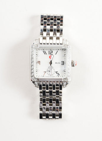"Michele Stainless Steel and .30 TCW Diamond Band ""Milou"" Watch Frontview"