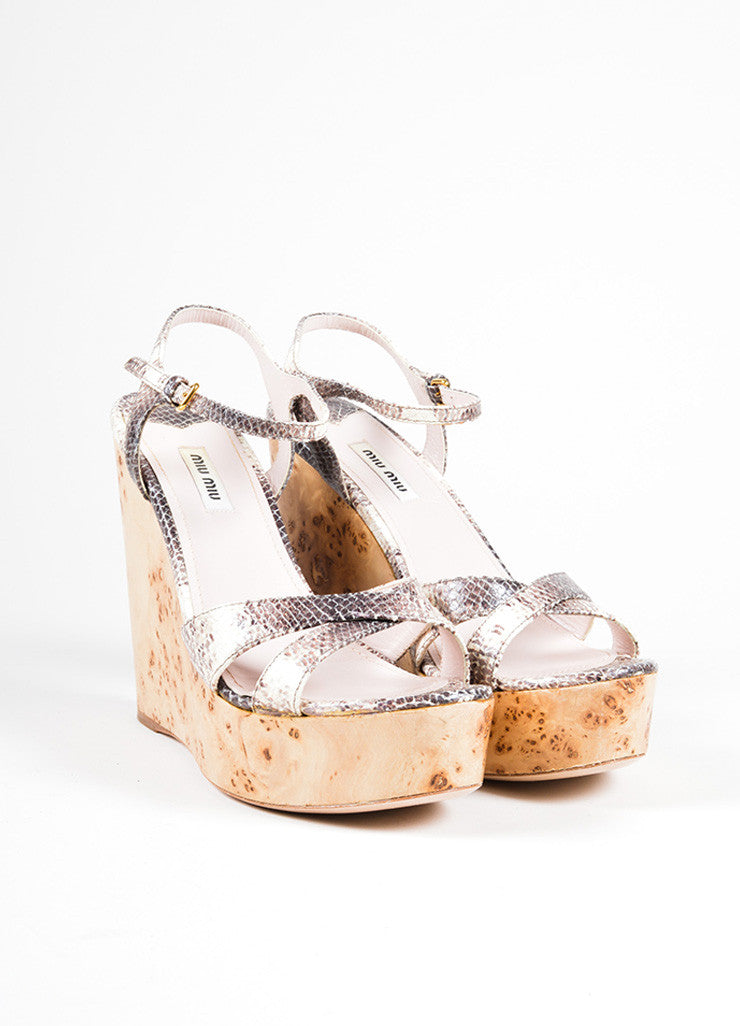 Miu Miu Cream and Brown Leather Wooden Wedge Sandals Front