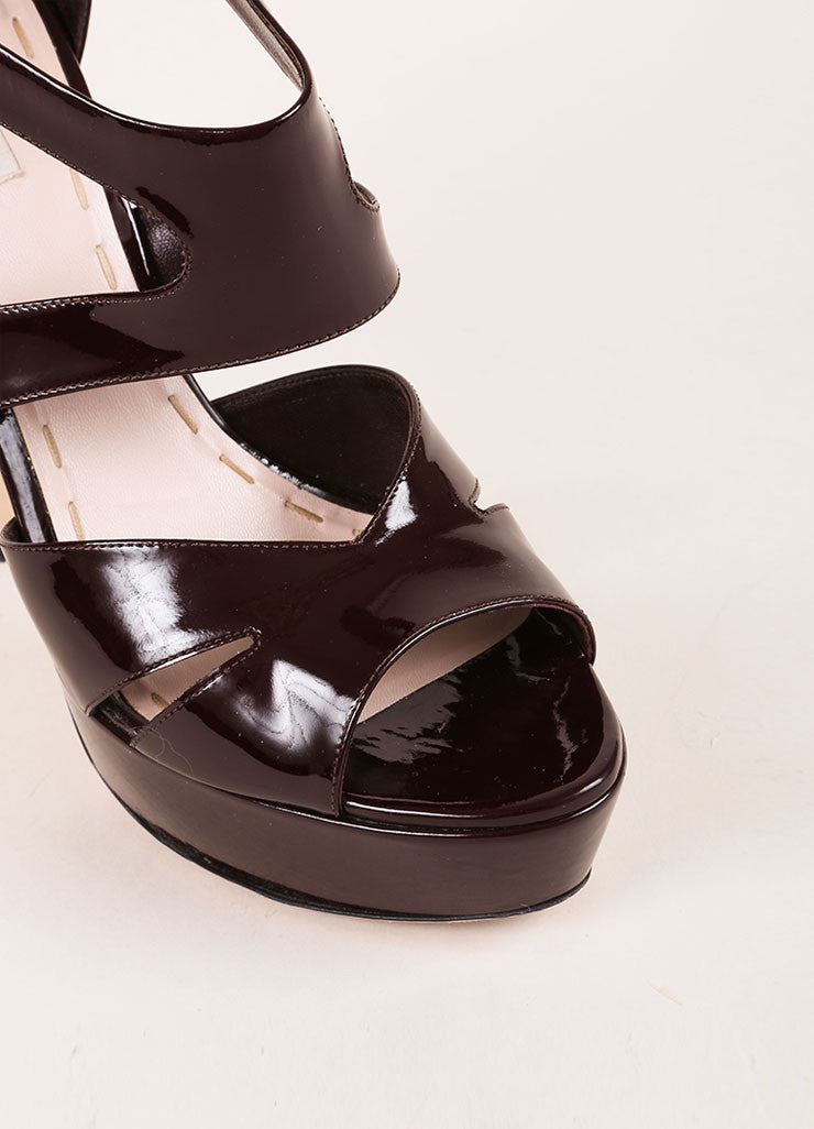 Miu Miu Burgundy Patent Leather Cut Out Platform Sandals Detail