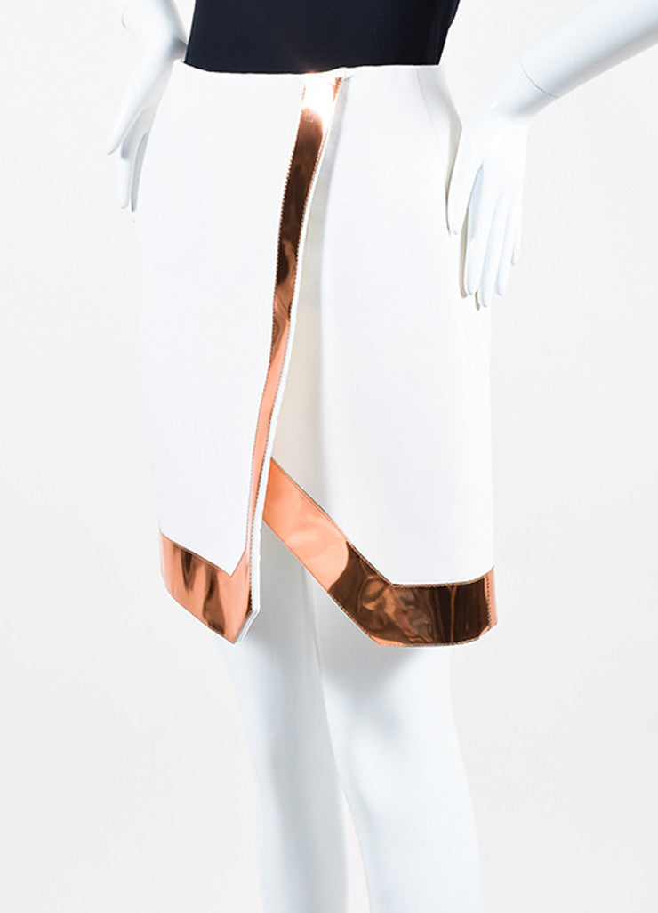 Mugler White Copper Trim Wool Crepe Wrap Skirt Sideview