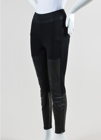 Black Paige Stretch Knit Leather Paneled Skinny Legging Pants Sideview