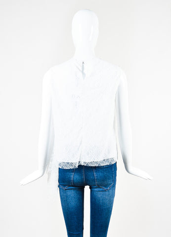 "Peter Pilotto White and Navy Smocked Lace ""Ozone"" Trapeze Sleeveless Top Backview"