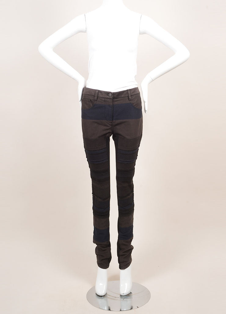 3.1 Phillip Lim New With Tags Black and Grey Cotton Knit Trim Patchwork Skinny Pants Frontview