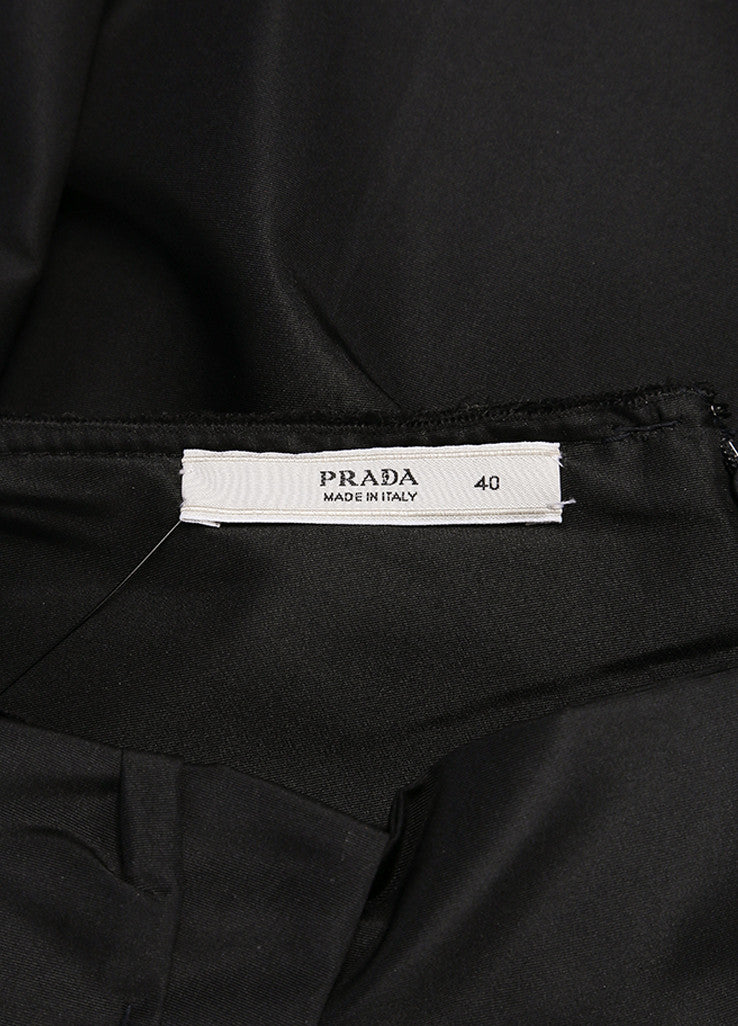 Prada Black Silk Pleated Bow A-Line Skirt Brand